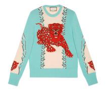 Pullover aus Wolle mit rundem Ausschnitt und Leoparden-Intarsie