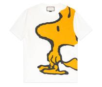 T-Shirt aus gewaschenem Stoff mit Woodstock-Print