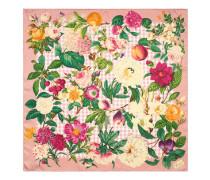 Halstuch aus Seide mit Blumen- und Früchte-Print