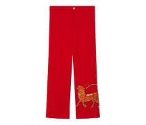 Knöchellange Hose aus Stretch-Wolle mit Stickerei