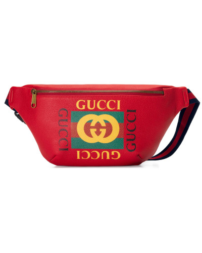 Gürteltasche aus Leder mit Gucci Print
