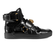 Hoher Sneaker aus Leder mit Feline