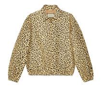 Jacquard-Jacke mit Leopardenmuster und Etikett