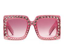 Übergroße Sonnenbrille mit quadratischem Rahmen aus Azetat