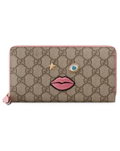 Lange Brieftasche mit gestickten Gesicht