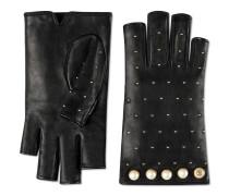 Handschuhe aus Leder mit perlenartigen Nieten