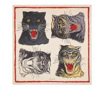 Schal aus Seide mit Tigergesicht-Print