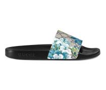 Sandale mit GG und Blumen-Print