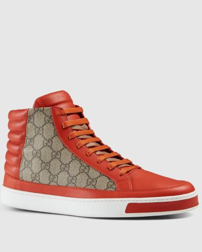 gucci herren hoher sneaker aus gg supreme und leder. Black Bedroom Furniture Sets. Home Design Ideas