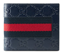 Brieftasche aus Gucci Signature Leder mit Webstreifen