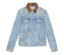 Jacke aus Jeansstoff mit Kritzelschrift-Print