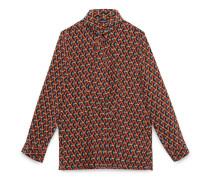 Hemd aus Seidenkrepp mit Korbdruck