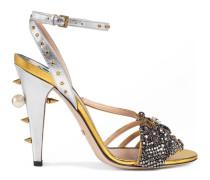 Sandale aus metallischem Leder