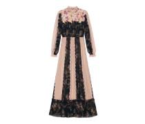 Kleid aus Fil Coupé mit Ramage-Motiv mit Rosen-Applikationen