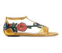 Sandale aus metallischem Leder mit Stickerei