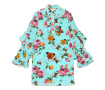 Kleid aus Seide mit Rosen-Print und Rüschen