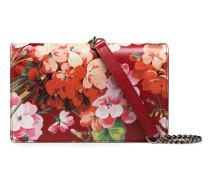 Brieftasche aus Leder mit Kette und Blooms-Druck