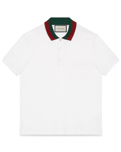 Poloshirt aus Baumwolle mit Kragen mit Webstreifen