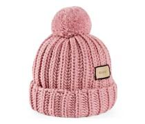 Mütze aus Wollstrick mit Etikett