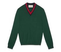 Pullover mit V-Ausschnitt aus Wolle mit Webstreifen