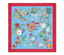 Halstuch aus Seidensablé mit Blumen- und Schlangen-Print
