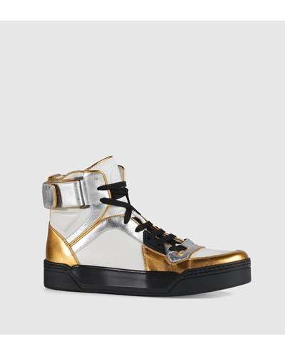 gucci damen hoher sneaker new basketball aus metallic. Black Bedroom Furniture Sets. Home Design Ideas