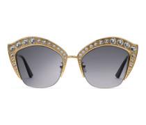 Katzenaugen-Sonnenbrille mit Kristallen