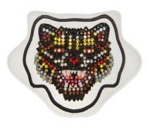 Böse Katze-Applikation aus Leder mit Stickerei