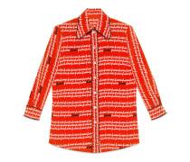 Hemdbluse aus Seide mit Gucci Print