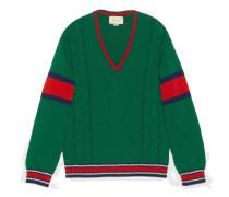 Pullover mit Zopfmuster und V-Ausschnitt