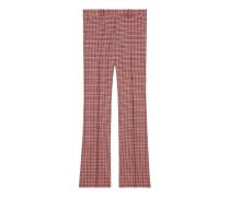 Ausgestellte Hose aus Wolle mit Hahnentritt-Muster