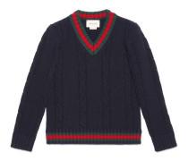 Kinder Pullover mit V-Ausschnitt, Zopfmuster und Webstreifen