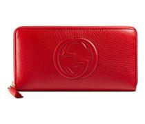 Brieftasche Soho mit Rundumreißverschluss aus rotem Leder