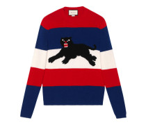 Pullover aus Wolle mit Jacquard-Panther
