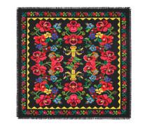 Schal aus Seide mit verpixeltem Blumen-Print