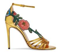 Sandale aus metallischem Leder mit mittelhohem Absatz und Stickerei