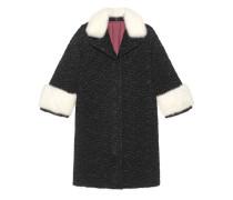 Mantel aus gestepptem Nylon mit Nerzfell