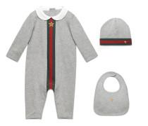 Dreiteiliges Baby Geschenkset mit Webstreifen