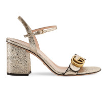 Sandale mit mittelhohem Absatz aus laminiertem Metallic-Leder