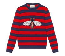Pullover aus gestreifter Wolle mit Biene