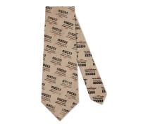 Krawatte aus Baumwollleinen mit Gucci Invite-Motiv