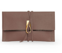 Opal Loop Clutch - Brandy Dark Brown/Gold