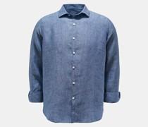 Leinenhemd schmaler Kragen graublau