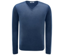 V-Neck Pullover graublau