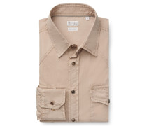 Casual Hemd schmaler Kragen khaki