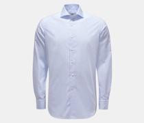 HerrenCasual Hemd Haifisch-Kragen rauchblau/weiß