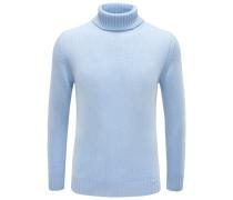 Cashmere-Rollkragenpullover hellblau