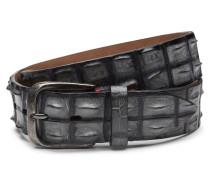 Gürtel Alligatorleder schwarz/grau
