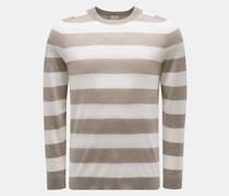 HerrenFeinstrick Rundhals-Pullover graubraun/offwhite