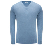 Cashmere V-Neck Pullover rauchblau